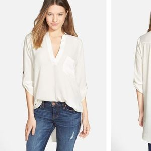 Lush cream tunic w button sleeves from Nordstrom